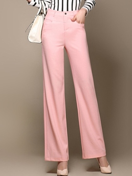 Ericdress Straight Button Decoration Wide Legs Pants