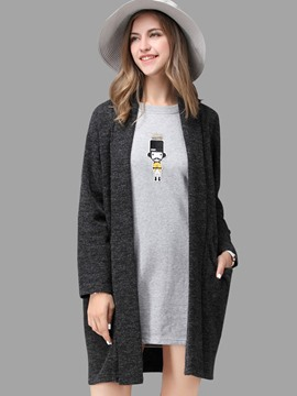 Ericdress Gray Plus Size Cardigan Knitwear