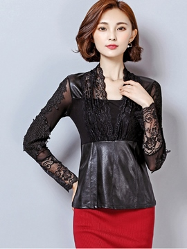 Ericdress Black Lace Patchwork Blouse