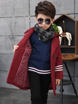 Ericdress Double-Breasted Plain Boys Wool Coat