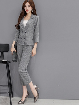 Ericdress Fashion Unique Stripe Blazer Suit