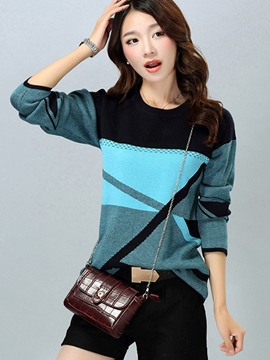 Ericdress Color Block Pullover Knitwear