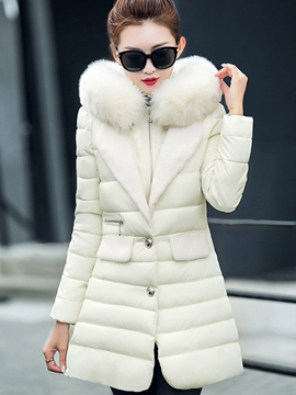 Ericdress Solid Color Faux Fur Collar Slim Coat