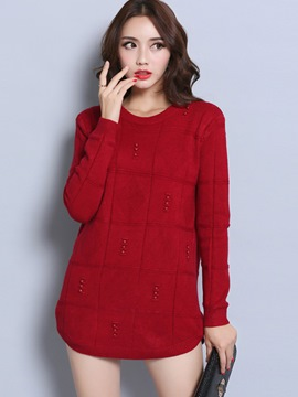 Ericdress Solid Color Plaid Knitwear