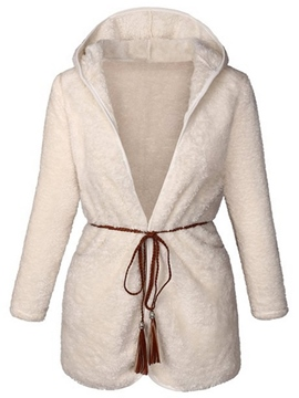 Ericdress Solid Color Loose Fleece Casual Coat