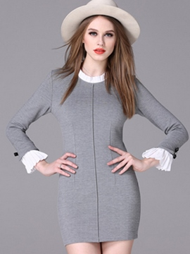 Ericdress Falbala Patchwork Flare Sleeve Bodycon Dress