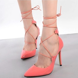 Ericdress PU Point Toe Lace up Pumps
