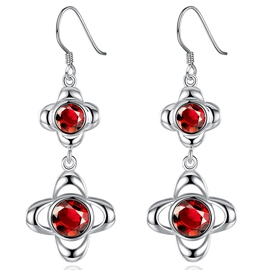 Ericdress Red Zircon Inlaid Pendant Earrings