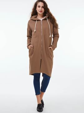 Ericdress Solid Color Straight Long Hoodie