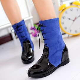Ericdress Bright Patchwork Lace up Ankle Boots