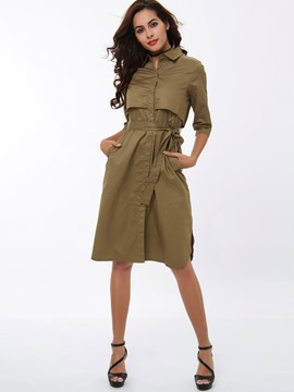 Ericdress Solid Color With Belt A-Line Coat