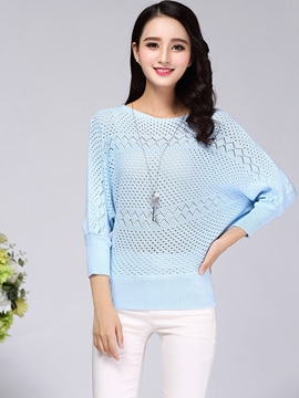 Ericdress Blue Batwing Sleeve Knitwear