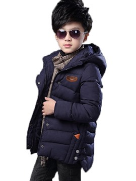 Ericdress Thicker Hooded Plain Cotton-Padded Boys Coat