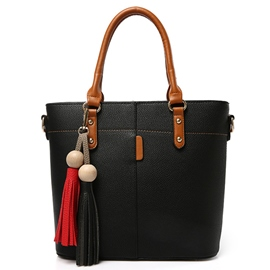 Korean Lichee Pattern Tassel Handbag