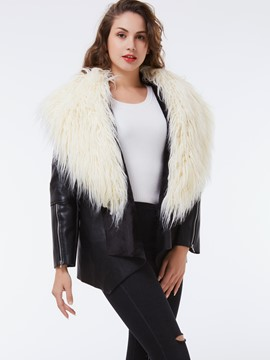 Ericdress Color Block Faux Fur Collar Coat