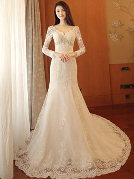 Ericdress Beautiful V Neck Mermaid Long Sleeves Wedding Dress