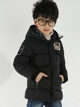 Ericdress Hooded Zipper Boys Cotton-padded Coat