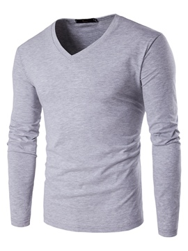 Ericdress Long Sleeve Plain V-Neck Slim Men's T-Shirt