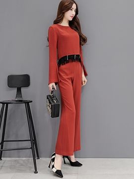 Ericdress Ladylike Tassel Top Leisure Suit
