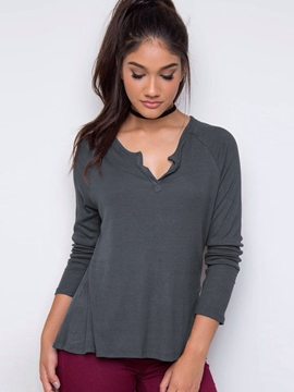 Ericdress Gray V-Neck Long Sleeve T-Shirt