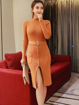 Ericdress Zipper Pocket Patchwork Belt Sheath Dress