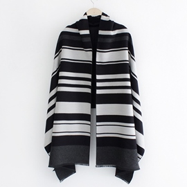 Ericdress Colorful Stripe Winter Warm Shawl Scarf