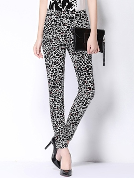 Ericdress Elastic Print Leggings Pants