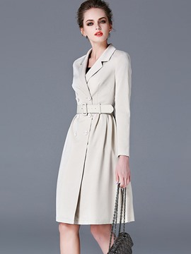Ericdress European Slim Belt Trench Coat