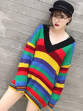 Ericdress V-Neck Strip Colorful Sweater Dress