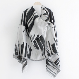 Ericdress Zebra-Stripe Design Fringed Scarf