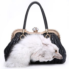 Noble Handmade Fur Decorated Lambskin Handbag