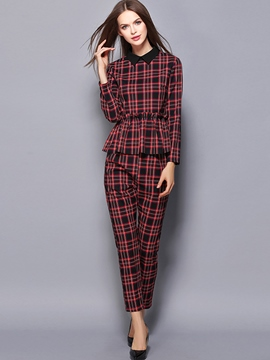 Ericdress Ladylike Plaid Leisure Suit