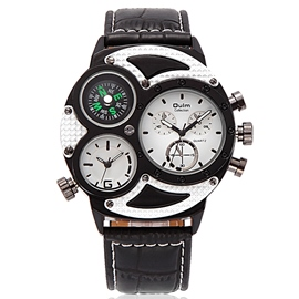 Ericdress Leather Band Compass Dial Design Men's Watch