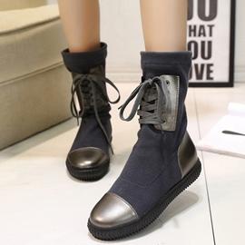 Ericdress Popular Patchwork Lace up Ankle Boots