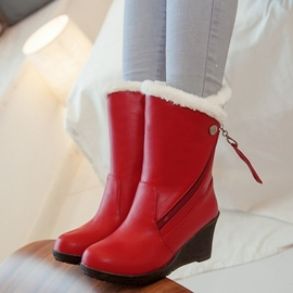 Ericdress PU Side Zip Wedge Heel Snow Boots