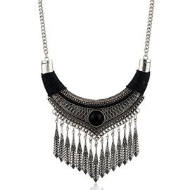 Ericdress Alloy Tassels Leaves Statement Necklace
