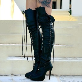 Ericdress Noble Platform Lace up Thigh High Boots