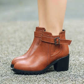 Ericdress Cool PU Square Heel Ankle Boots