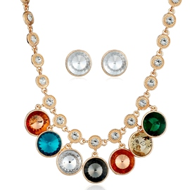 Ericdress Multicolor Glass Inlaid Two Pieces Jewelry Set