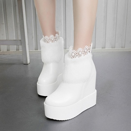 Ericdress Amazing Lace Furry Wedge Heel Ankle Boots
