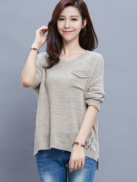 Ericdress Pocket Loose Plain Knitwear