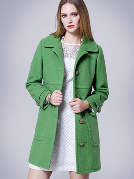 Ericdress Solid Color Loose Single-Breasted Coat