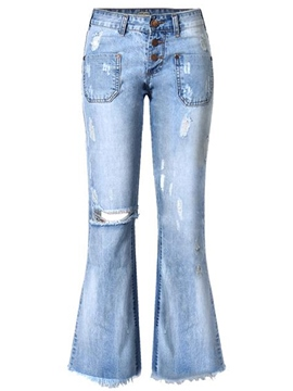 Ericdress Unique Ripped Wide Legs Jeans