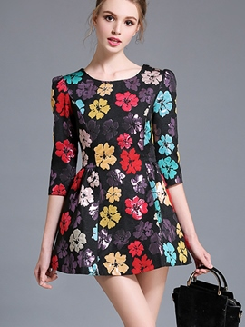 Ericdress Floral Stylelines Round Collar Casual Dress