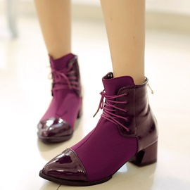 Ericdress Patchwork Point Toe Square Heel Ankle Boots