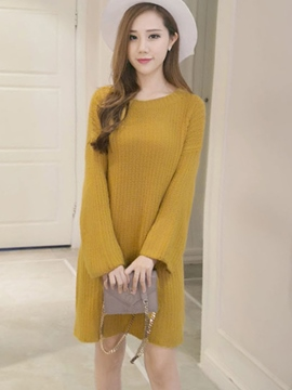 Ericdress Flare Sleeve Round Collar Sweater Dress