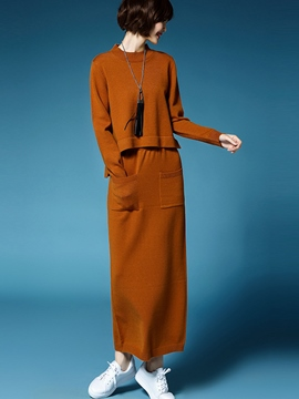 Ericdress Solid Color Knitted Maxi Skirt Leisure Suit
