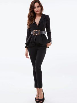 Ericdress Solid Color Ladylike Top Leisure Suit