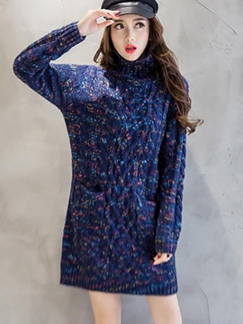 Ericdress Weave Knitting Pocket Round Coolar Sweater Dress
