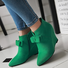 Ericdress Pretrty Bowtie Point Toe Wedge Heel Ankle Boots